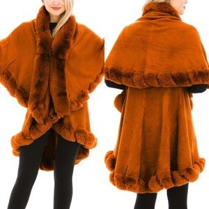 Luxury Double Layered Fx Fur Collared Jacket Coat